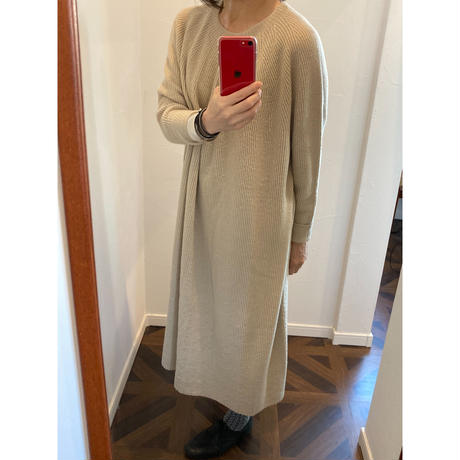 miho umezawa wool whole garment half cardigan long dress