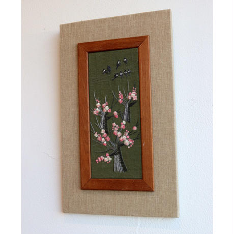 swedish hand-embroidered tapestry with teak frame