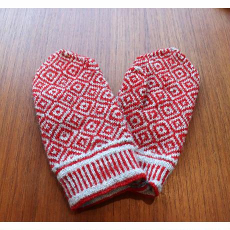 handknitted mitten from Sweden  red rhombus