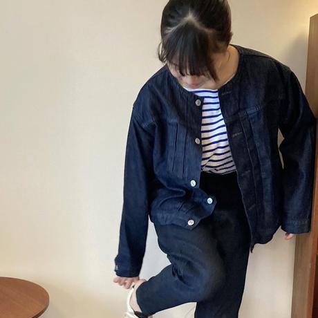 atelier naruse cotton denimu no-collar jacket