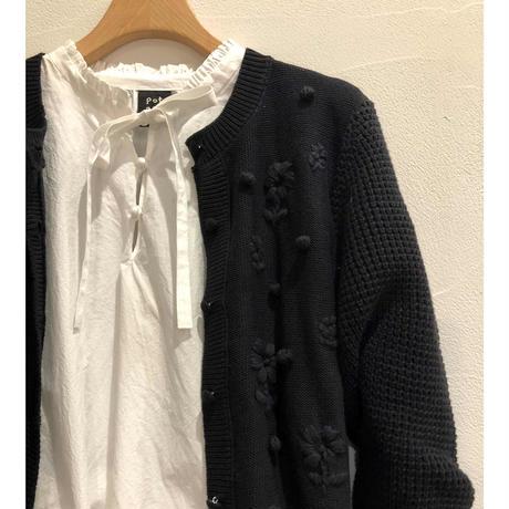 pot and tea front-ribbon frill blouse