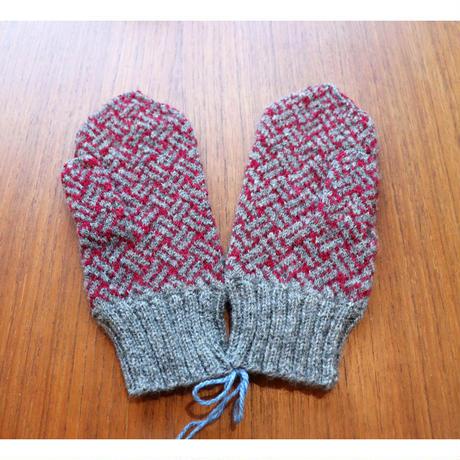 handknitted mitten from Sweden  grey/burgundy