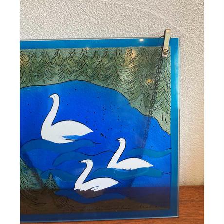 Helja Liukko Sundstrom glass plate 'swans'