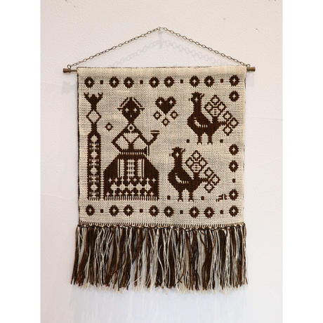 Finnish Weaving hanging reversible tapestry brown