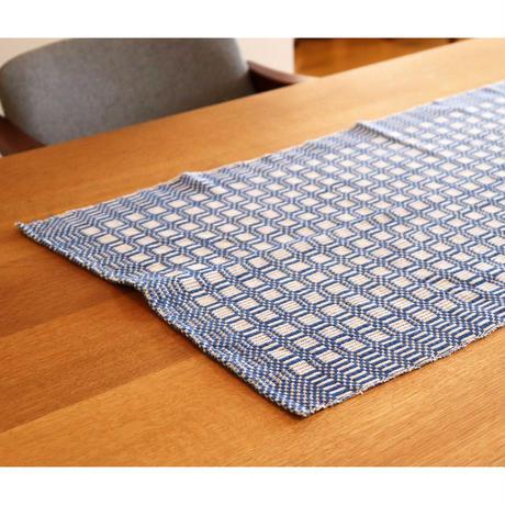 Handwoven table runner / blue monk belt weaving