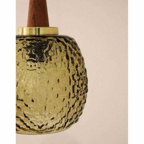 Pendant light ceiling lamp with teak/glass