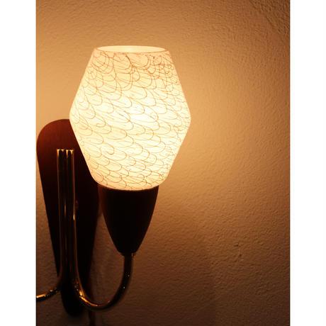 Teak & Opalglass wall lamp
