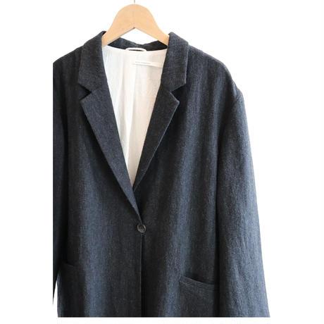 miho umezawa airy wool linen light chester coat  chacoal