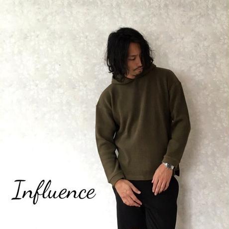 """Influence """"ビックワッフルフードパーカー"""" Olive"""