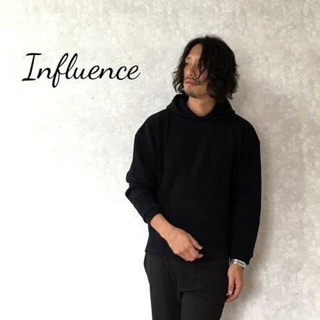 """Influence """"ビックワッフルフードパーカー"""" Black"""