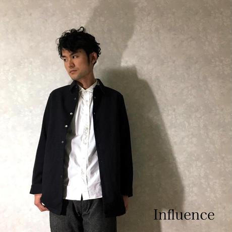 """Influence """"コットンロングシャツジャケット"""" Black"""
