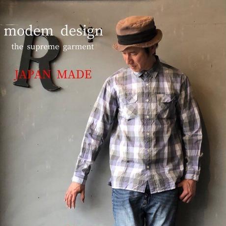 """modem design """"チェックシャツ"""" Pur × Gry"""