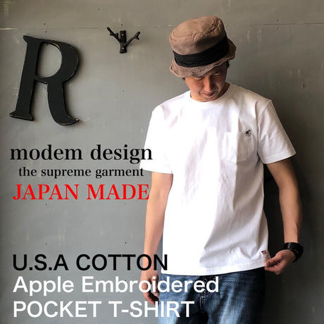 "modem design ""アップル刺繍ポケットT-SHIRT"" White"