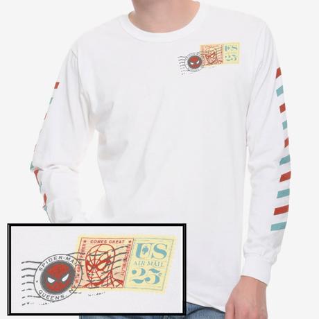 【USA直輸入】MARVEL スパイダーマン エアーメール スタンプ ロングスリーブ 長袖 シャツ マーベル 映画 MCU  US Air Mail Spider-Man