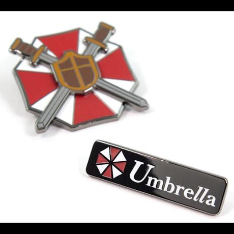 【USA直輸入】バイオハザード  RESIDENT EVIL レジデントイービル  U.B.C.S. & アンブレラ社 ロゴ PIN KINGS ピン キング 1.2 エナメルピンバッジ  2個セット