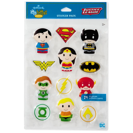 【USA直輸入】DCコミックス  ittybittys ステッカー 12種×2枚セット hallmark ホールマーク DC シール バットマン スーパーマン アクアマン フラッシュ