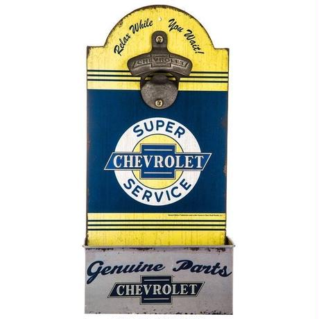 【USA直輸入】シボレー Chevrolet ウッド ボトルオープナー 木製 看板  企業 ブリキ看板 ポスター 車 栓抜き