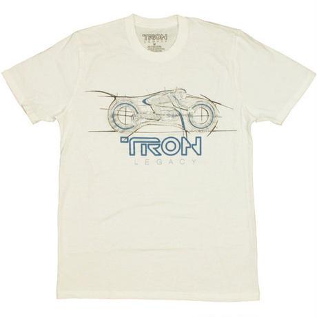 【USA直輸入】Tron Legacy トロン レガシー ライトサイクル Tシャツ 白色 グローインザダーク 蓄光 SFアクション映画 グリッド・ゲーム ライトサイクル・バトル サムフリン