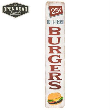 【USA直輸入】ウォールデコ ホット&フレッシュ バーガーズ ラスティック 木製 看板  ハンバーガー