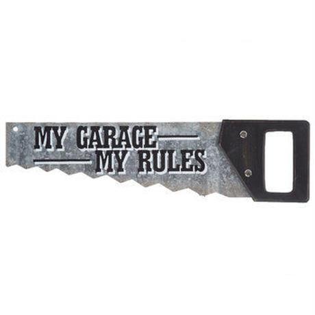 【USA直輸入】マイ  ガレージ マイ ルール   メタルサイン のこぎり型 My Garage My Rules エンボス加工 ウォールデコ  ブリキ看板 看板