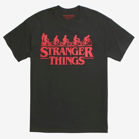 【USA直輸入】ストレンジャーシングス ロゴ & 自転車 Tシャツ Sサイズ イレブン ウィル ダスティン ルーカス マイク Stranger Things ネットフリックス