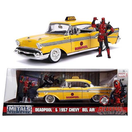 【USA直輸入】MARVEL デッドプール ハリウッド ライドズ 1957 Bel Air 1:24スケール ダイキャストカー & フィギュア メタル マーベル デップ Deadpool