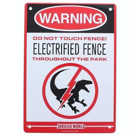 【USA直輸入】Jurassic World  ジュラシックワールド  Electrified Fence Raptor  恐竜用の電気柵 ブリキ看板 ジュラシックパーク フェンス 看板 パネル 映画