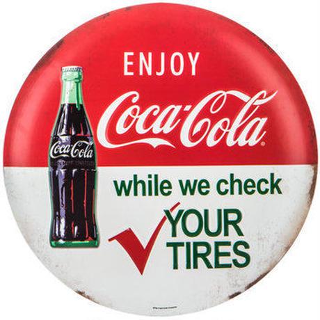 【USA直輸入】コカコーラ CocaCola エンジョイ 丸形 YOUR  TIRES メタルサイン ウォールデコ  ブリキ看板 看板 コカ・コーラ 企業