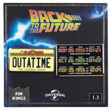 【USA直輸入】バックトゥザフューチャー デロリアン タイムサーキット & Outatime PIN KINGS ピン キング 1.3 エナメルピンバッジ  2個セット