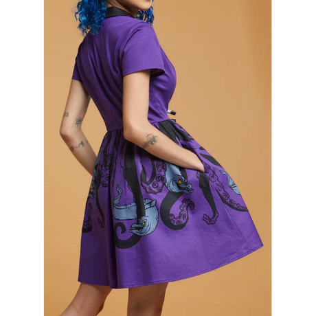 【※ご予約商品・USA直輸入】DISNEY ディズニー アースラ の 2匹のウツボ  フロットサム  と ジェットサム 襟付き ワンピース ドレス ディズニー Dハロ ヴィランズ リトルマーメイド