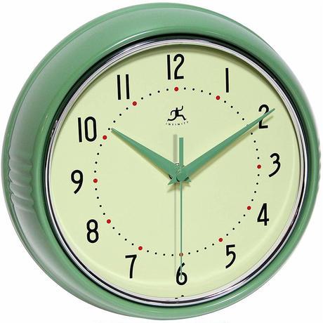 【USA直輸入】インフィニティ インストルメント レトロ 丸形 グリーン 掛け時計 壁掛け 時計 インテリア