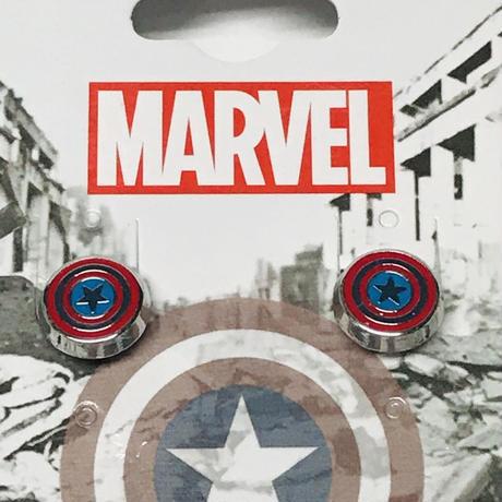 【USA直輸入】MARVEL キャプテンアメリカ シールド ロゴ ピアス STUD アクセサリー マーベル アベンジャーズ