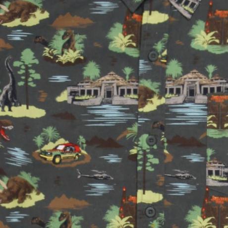 【USA直輸入】Jurassic Park ジュラシックパーク ビジターセンター 半袖シャツ 恐竜 ツアー車両 ジュラシックワールド シャツ アパレル