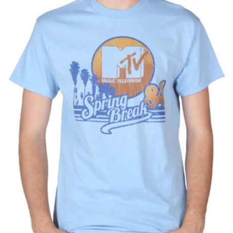 【USA直輸入】MTV Tシャツ Sサイズ Spring Break ライトブルー ケーブルテレビ 海外Tシャツ