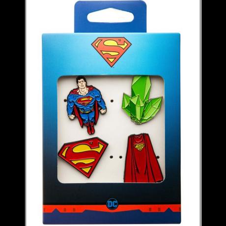 【USA直輸入】DC スーパーマン 全身 & マント & クリプトナイト & ロゴ  エナメル ラペル ピン 4個セット ピンズ DCコミックス ピンバッジ Superman