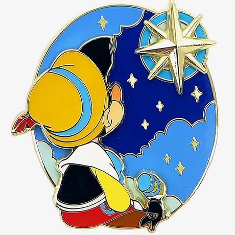 【USA直輸入】DISNEY ピノキオ & ジミニー・クリケット 星に願いを エナメル ピン ピンズ ピンバッジ ディズニー ジミニークリケット Pinocchio