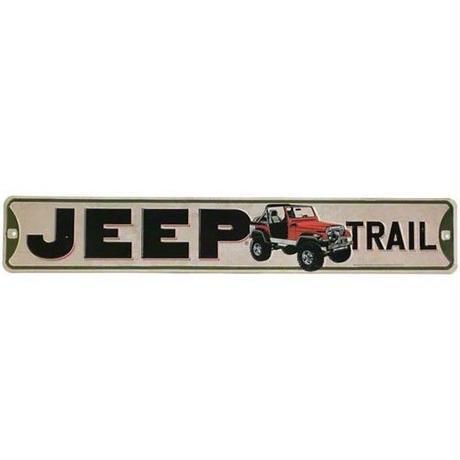 【USA直輸入】ブリキ看板 Jeep Trail 横長 メタルサイン エンボス加工 ジープ トレイル ブリキ 看板  車