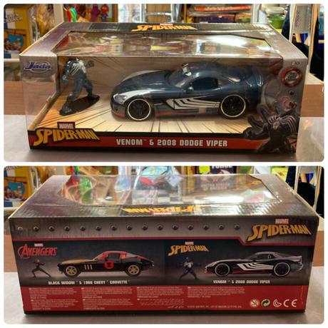【USA直輸入】MARVEL Venom ヴェノム 2008 Dodge Viper ダッジ・バイパー ダイキャストカー Jada  1:24 ミニカー  フィギュア付き マーベル スパイダーマン