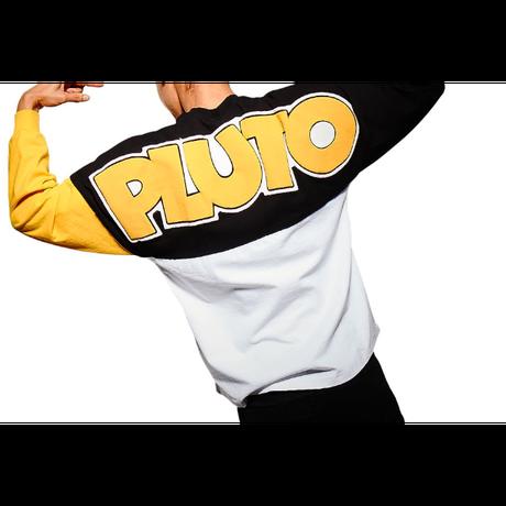 【USA直輸入】DISNEY Pluto プルート フェイス柄 90thアニバーサリー バックプリント 有り ドルマンスリーブ 長袖 シャツ スピリッツ ジャージ ディズニー