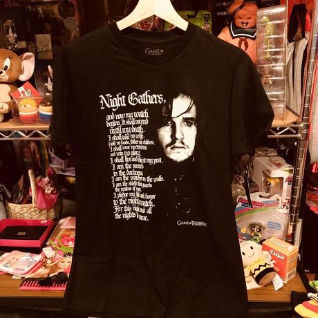 【USA直輸入】ゲームオブスローンズ ジョンスノウ ナイトギャザーズ  Tシャツ Sサイズ ゲーム・オブ・スローンズ GOT