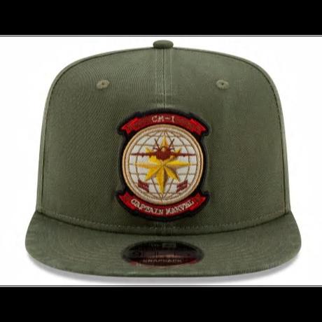 【USA直輸入】MARVEL キャプテンマーベル ロゴ オリーブ色 HC 9Fifty キャップ ニューエラ NEWERA 帽子  Captain Marvel アベンジャーズ キャプテン マーベル
