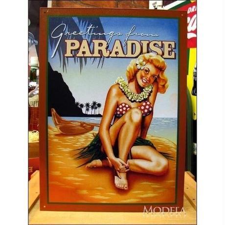 アメリカン ブリキ看板  パラダイス 楽園からのご挨拶 看板 アロハ