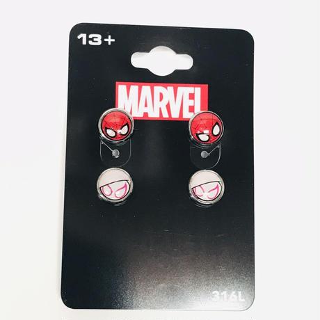 【USA直輸入】MARVEL スパイダーマン スパイダーグウェン ロゴ ピアス 3個セット アクセサリー マーベル  アベンジャーズ グウェン・ ステイシー スパイダーウーマン