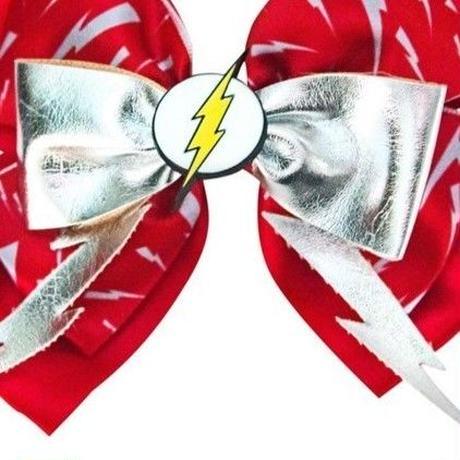 【USA直輸入】DC フラッシュ アイコン ヘアクリップ リボン アクセサリー DCコミックス Flash バリー・アレン