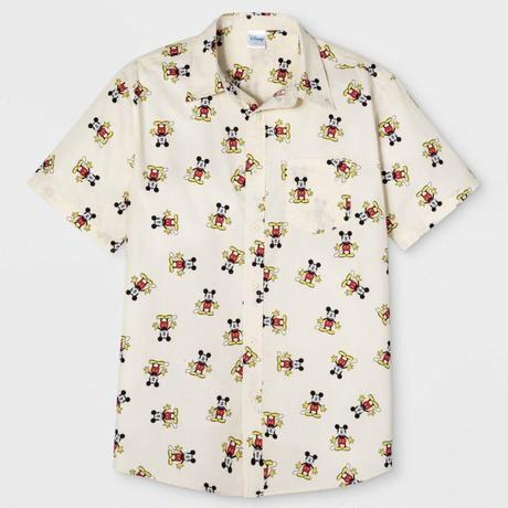 【USA直輸入】DISNEY ミッキーマウス 総柄 半袖 シャツ ディズニー ミッキー ボタンダウン Mickey Mouse