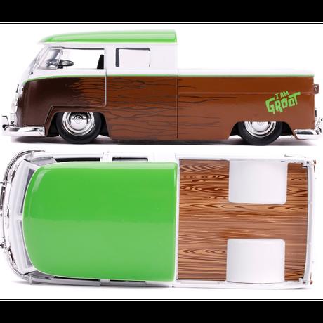 【USA直輸入】MARVEL ガーディアンズオブギャラクシー 1963 フォルクスワーゲン バス ダイキャストカー Jada  1:24スケール ベイビーグルート フィギュア付き ミニカー