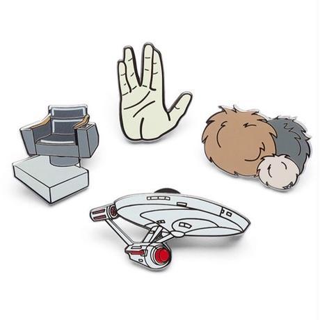 【USA直輸入】スタートレック ピンズ 4種セット 船長の椅子 エンタープライズ バルカン トリブル  Star Trek エナメル ピン スタトレ