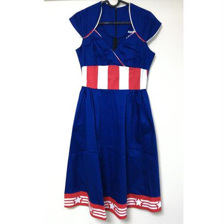 【USA直輸入】MARVEL キャプテンアメリカ ライン レトロ ミディ ワンピース Sサイズ マーベル ドレス アベンジャーズ