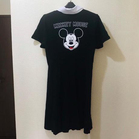 【USA直輸入】DISNEY  ミッキーマウス ブラック&ホワイト 襟付き ワンピース Mサイズ ディズニー アパレル スカート  MICKEY MOUSE ミッキー