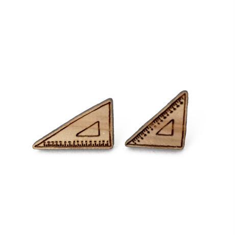 木のピアス 三角定規  直角・二等辺 ブラウン